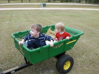 Will and Elizabeth on a hay ride.